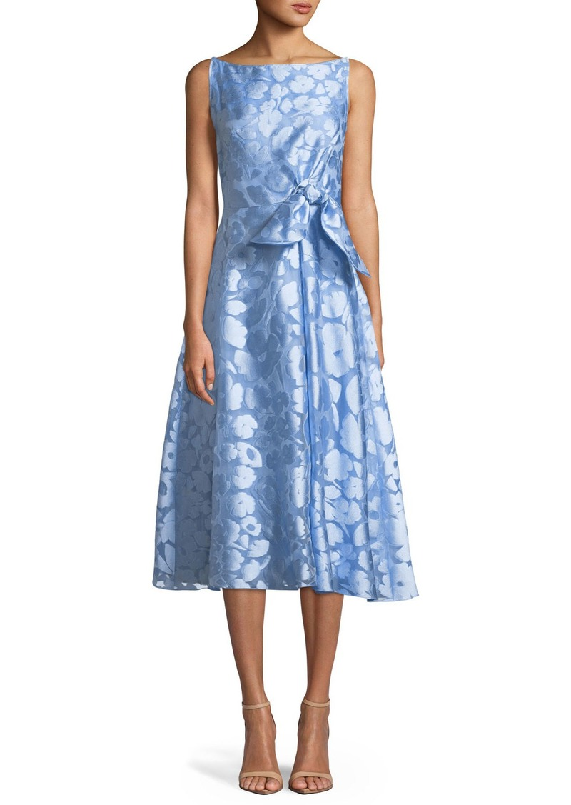 Lela Rose Sleeveless Boat-Neck Bow-Front Fit-and-Flare Jacquard Dress