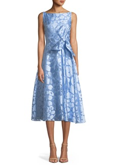 Lela Rose Sleeveless Boat-Neck Bow-Front Fit-and-Flare Jacquard Dress