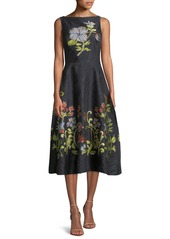 Lela Rose Sleeveless Boat-Neck Floral-Embroidered Jacquard Dress