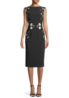 Lela Rose Sleeveless Boat-Neck Floral-Embroidered Sheath Dress