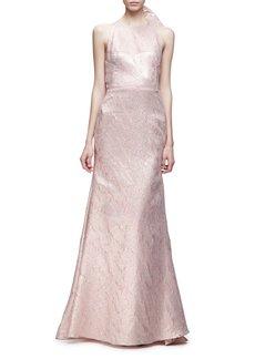 Lela Rose Sleeveless Bow-Back Mermaid Gown