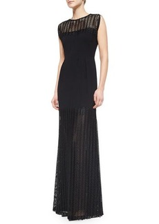 Lela Rose Sleeveless Chevron Lace Gown