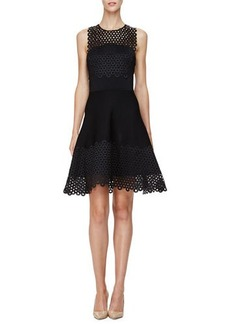 Lela Rose Sleeveless Circle-Lace Mini Dress