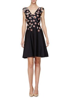 Lela Rose Sleeveless Embellished Mini Dress