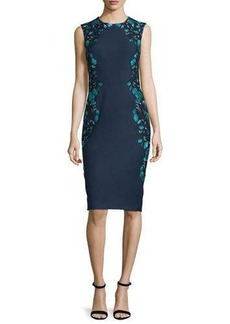 Lela Rose Sleeveless Embroidered Sheath Dress