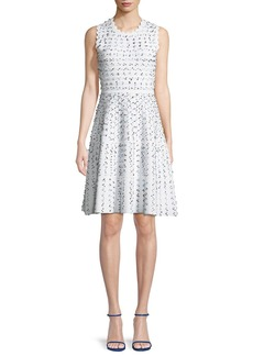 Lela Rose Sleeveless Fit-and-Flare Dobby Knit Dress with Scalloped Details