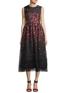 Lela Rose Sleeveless Floral Brocade Midi Dress
