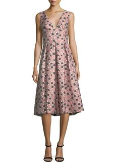 Lela Rose Sleeveless Floral Fil Coupe Dress