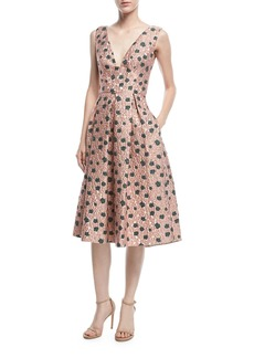 Lela Rose Sleeveless Floral Fil Coupe Dress