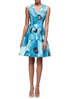 Lela Rose Sleeveless Floral-Print A-Line Dress