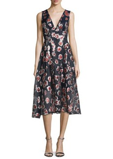 Lela Rose Sleeveless Floral-Print Midi Dress