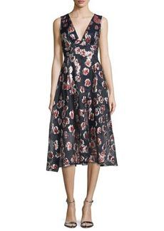 Lela Rose Sleeveless Floral-Print Midi Dress