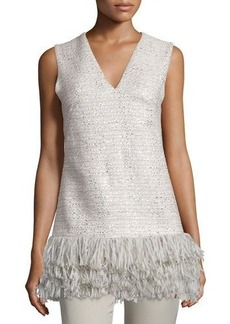 Lela Rose Sleeveless Fringe-Hem Top