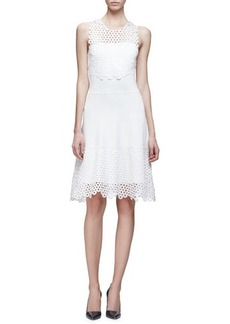Lela Rose Sleeveless Lace Applique Dress
