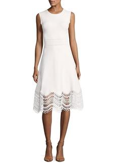 Lela Rose Sleeveless Lace-Hem Dress