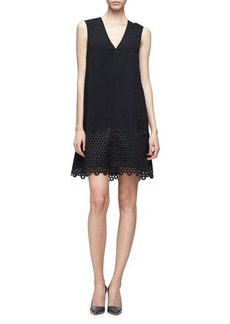 Lela Rose Sleeveless Lace-Hem Tunic Dress