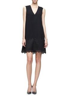 Lela Rose Sleeveless Lace-Hem Tunic Dress