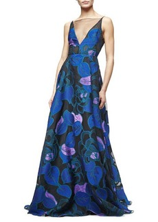 Lela Rose Sleeveless Leaf-Print Fil Coupe Gown
