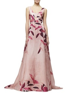 Lela Rose Sleeveless Leaf-Print Gazaar Gown