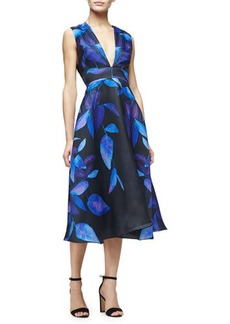 Lela Rose Sleeveless Leaf-Print Midi Dress
