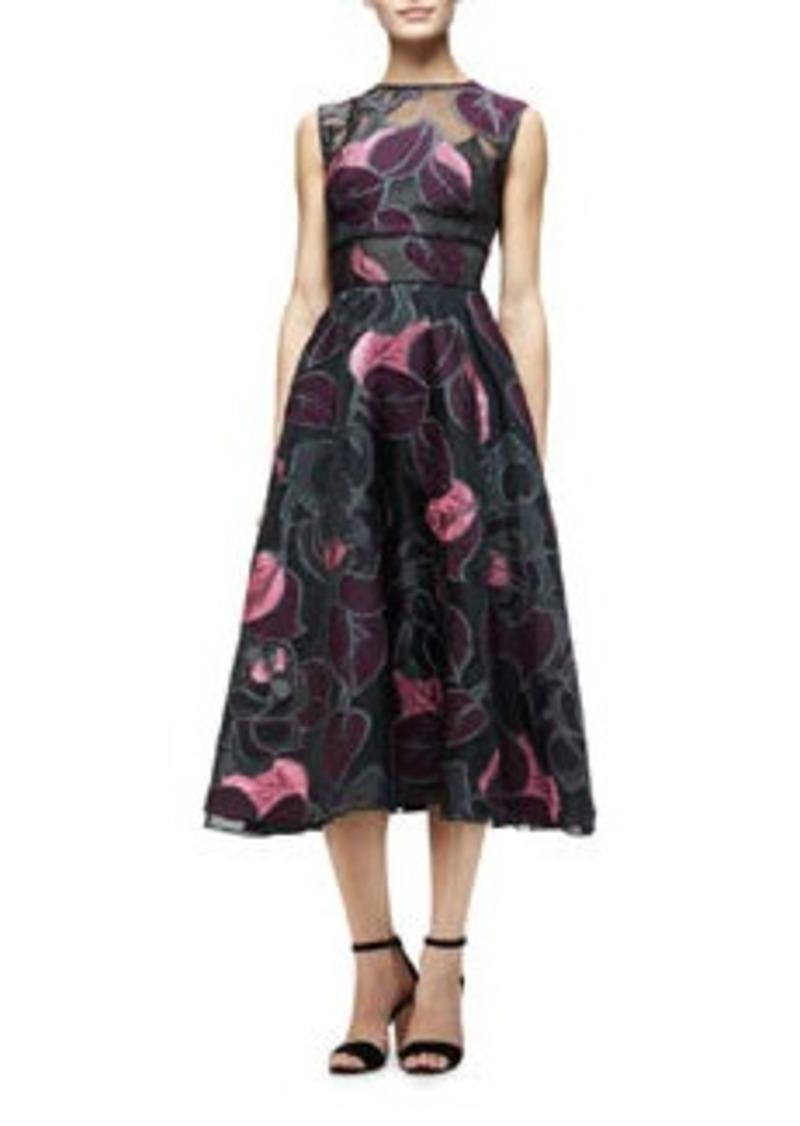 Lela Rose Sleeveless Linear-Leaf Midi Dress