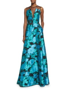 Lela Rose Sleeveless Mesh-Inset Ikat Gown