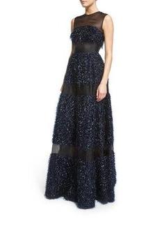Lela Rose Sleeveless Metallic Chevron-Fringe Gown