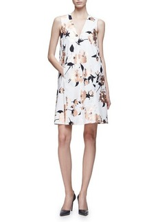 Lela Rose Sleeveless Metallic-Floral A-Line Dress