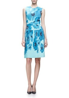 Lela Rose Sleeveless Oversize-Floral Sheath Dress