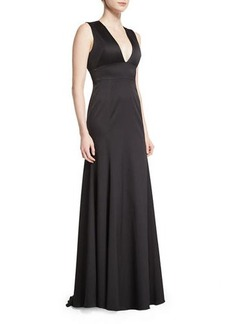 Lela Rose Sleeveless Plunging-Neck Gown