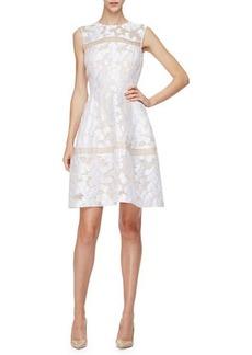 Lela Rose Sleeveless Sheer-Inset Mini Dress