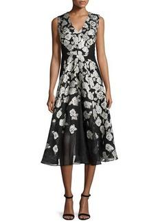 Lela Rose Sleeveless Stamped-Floral Dress
