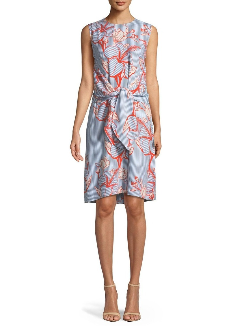 Lela Rose Sleeveless Tie-Waist Striped Floral-Print Tunic Dress
