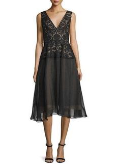 Lela Rose Sleeveless V-Neck Combo Dress