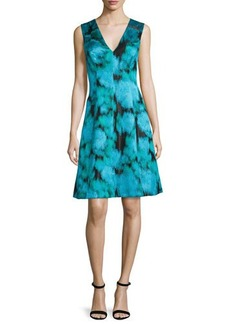 Lela Rose Sleeveless V-Neck Ikat Dress