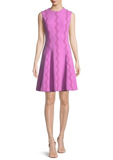 Lela Rose Sleeveless Wave-Embroidered Fit-and-Flare Dress