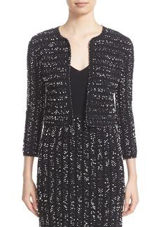 Lela Rose Speckled Knit Tweed Crop Jacket