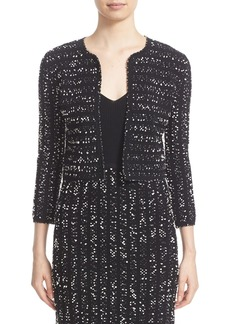 Lela Rose Speckled Knit Tweed Crop Jacket