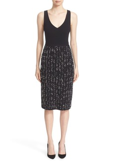 Lela Rose Speckled Knit Tweed Sheath Dress