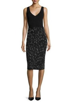 Lela Rose Speckled Tweed Sleeveless V-Neck Dress