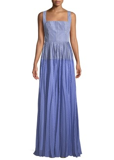 Lela Rose Square-Neck Sleeveless Plaid Gown with Pleated Skirt