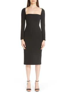 Lela Rose Square Neck Wool Blend Crepe Sheath Dress