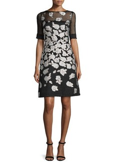 Lela Rose Stamped-Floral A-Line Dress
