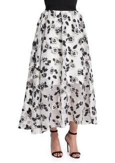 Lela Rose Stamped-Floral Full Midi Skirt