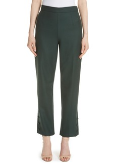 Lela Rose Straight Leg Wool Twill Pants