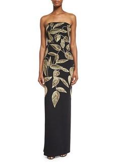 Lela Rose Strapless Sequined Leaf Column Gown