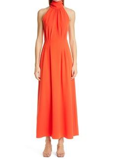 Lela Rose Stretch Crepe Halter Maxi Dress