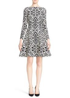 Lela Rose Stretch Jacquard Fit & Flare Dress