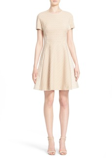 Lela Rose Stretch Jacquard Paneled Fit & Flare Dress