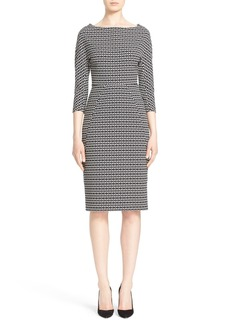 Lela Rose Stretch Jacquard Sheath Dress